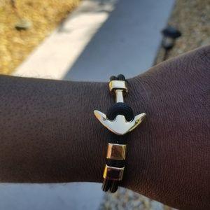 Other - Unisex Black Cord & Gold Anchor Bracelet